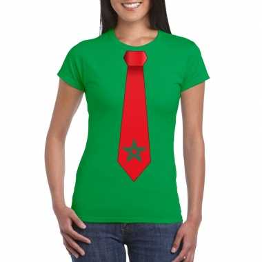 Groen t shirt marrokko vlag stropdas dames