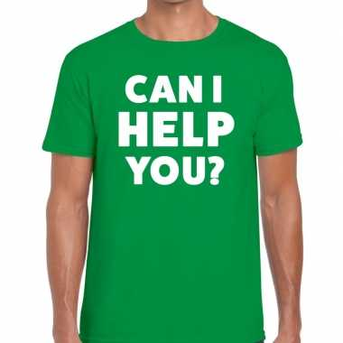 Groen tekst shirt can i help you bedrukking heren