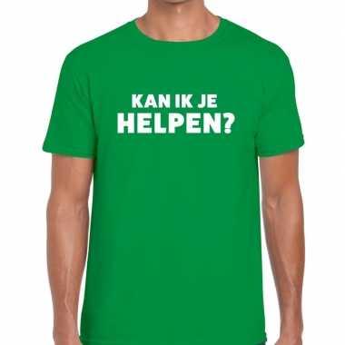 Groen tekst shirt kan ik je helpen bedrukking heren