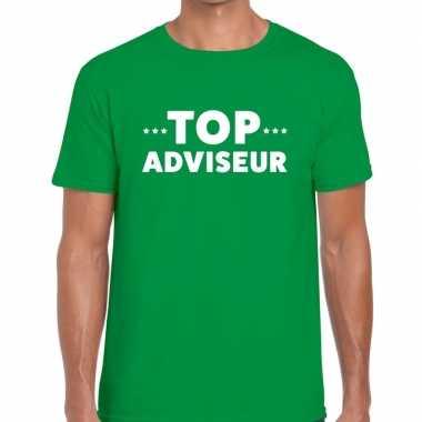 Groen tekst shirt top adviseur bedrukking heren