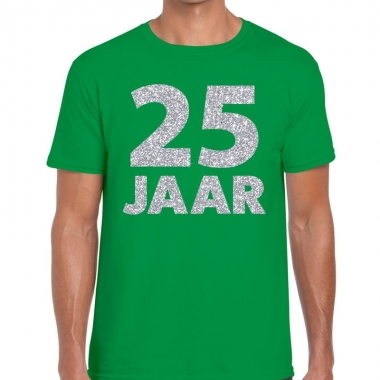 Groen vijfentwintig jaar verjaardag shirt groen heren zilveren bedruk