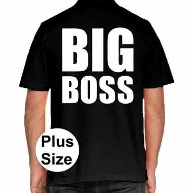 Grote maten big boss polo shirt zwart heren
