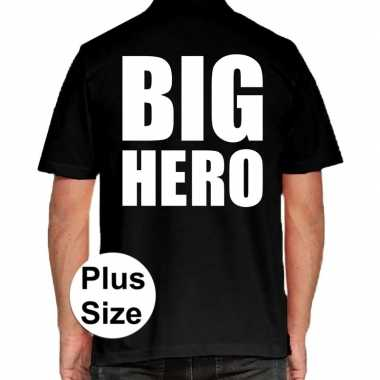 Grote maten big hero polo shirt zwart heren