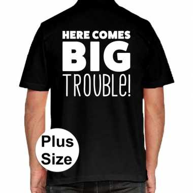 Grote maten here comes big trouble polo shirt zwart heren