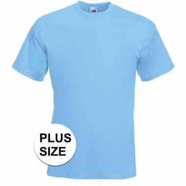 Grote maten licht blauwe t shirts korte mouwen heren