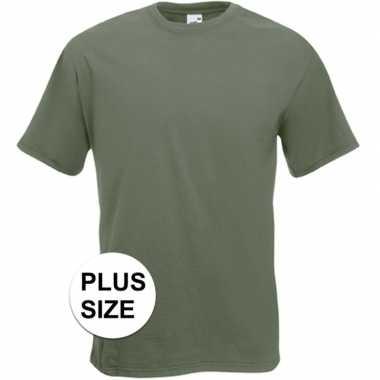 Grote maten olijf groene t shirts korte mouwen heren