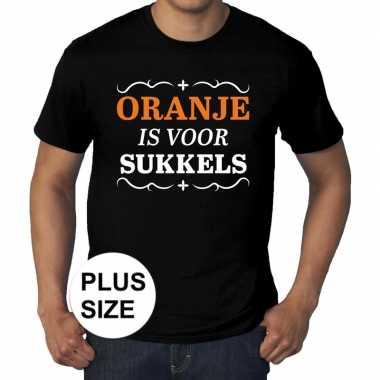 Grote maten oranje is sukkels shirt zwart heren
