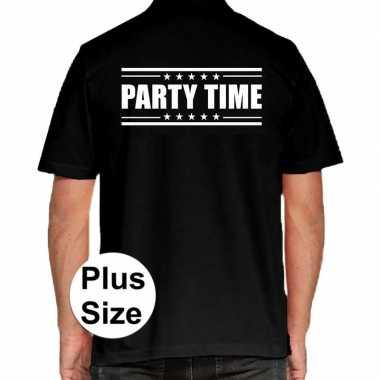 Grote maten party time polo shirt zwart heren