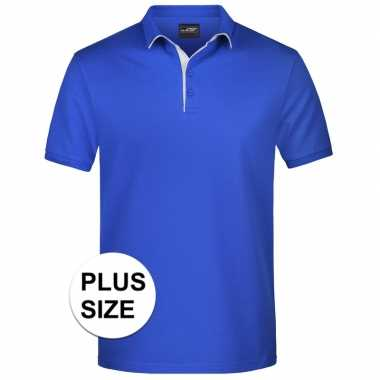 Grote maten polo t shirt high quality blauw heren