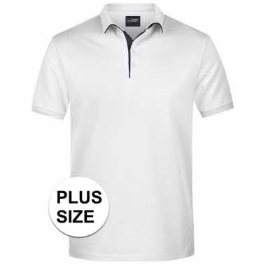 Grote maten polo t shirt high quality wit heren