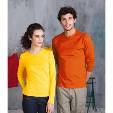 Grote oranje t-shirts lange mouwen 10070026