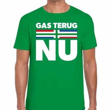 Grunnen t shirt gas terug nu groen heren