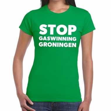 Grunnen t shirt stop gaswinning groen dames