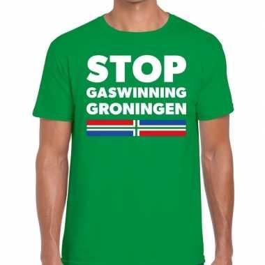 Grunnen t shirt stop gaswinning groningen groen heren