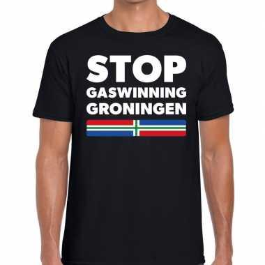 Grunnen t shirt stop gaswinning groningen zwart heren