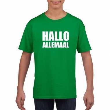 Hallo allemaal tekst groen t shirt kinderen