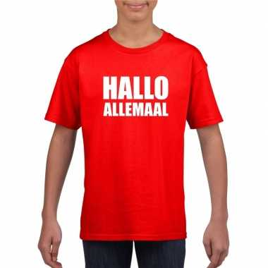 Hallo allemaal tekst rood t shirt kinderen