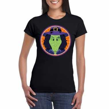 Halloween heks t shirt zwart dames