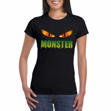 Halloween monster ogen t shirt zwart dames