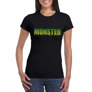 Halloween monster tekst t shirt zwart dames
