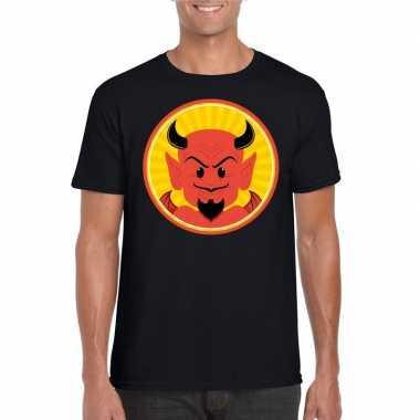 Halloween rode duivel t shirt zwart heren