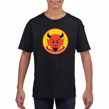 Halloween rode duivel t shirt zwart kinderen