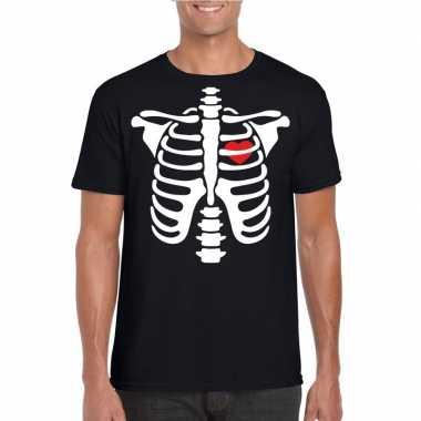 Halloween skelet t shirt zwart heren