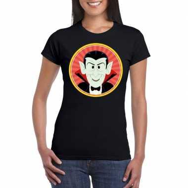 Halloween vampier/dracula t shirt zwart dames