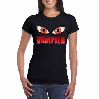 Halloween vampier ogen t shirt zwart dames
