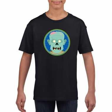 Halloween zombie t shirt zwart kinderen