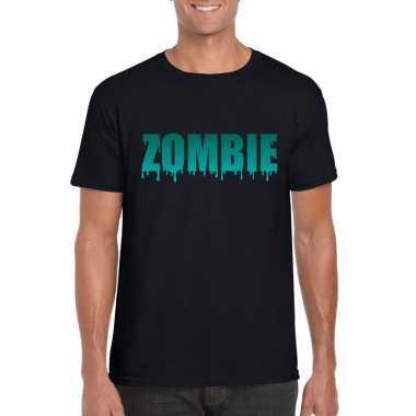 Halloween zombie tekst t shirt zwart heren
