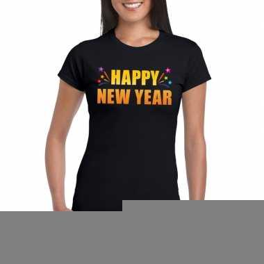 Happy new year t shirt zwart dames