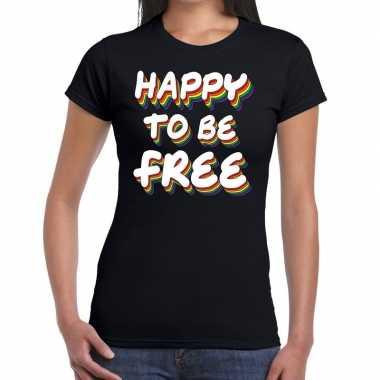Happy to be free gay pride t shirt zwart dames
