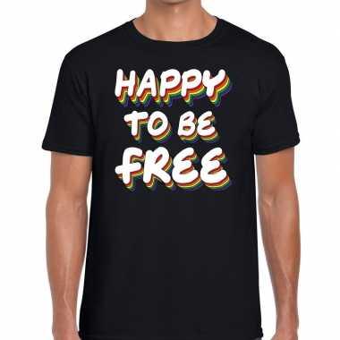 Happy to be free gay pride t shirt zwart heren