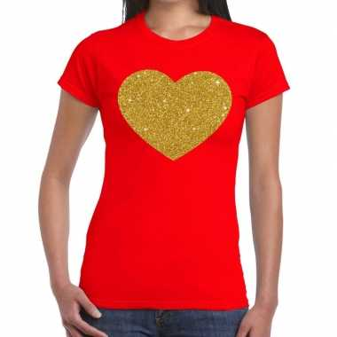 Hart goud glitter fun t shirt rood dames