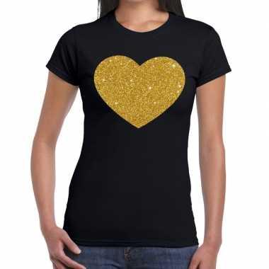 Hart goud glitter fun t shirt zwart dames