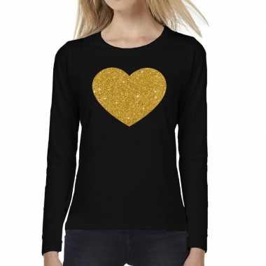 Hart goud glitter t shirt long sleeve zwart dames