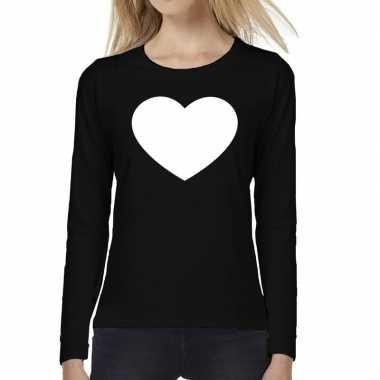 Hart t shirt long sleeve zwart dames