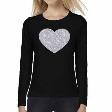 Hart zilver glitter t shirt long sleeve zwart dames