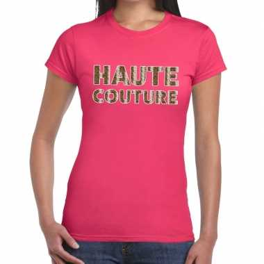 Haute couture slangen print tekst t shirt roze dames