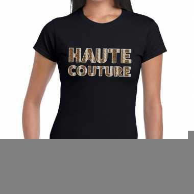Haute couture slangen print tekst t shirt zwart dames