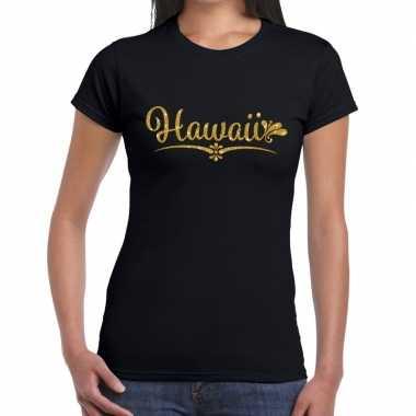 Hawaii gouden glitter tekst t shirt zwart dames