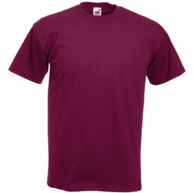 Heren fruit of the loom t shirt bordeaux