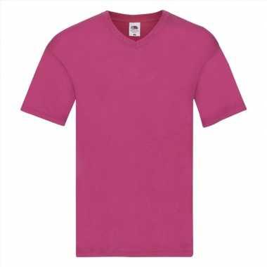 Heren t shirt v hals fuchsia