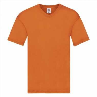 Heren t shirt v hals oranje