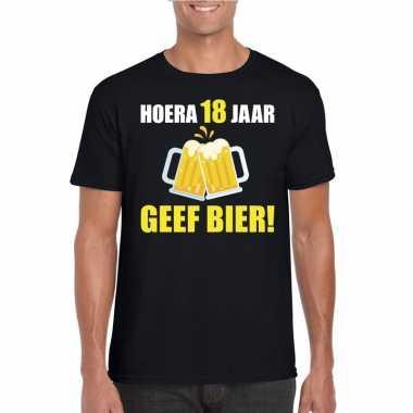 Hoera 18 jaar geef bier t-shirt zwart heren