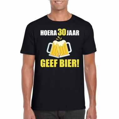 Hoera 30 jaar geef bier t shirt zwart heren