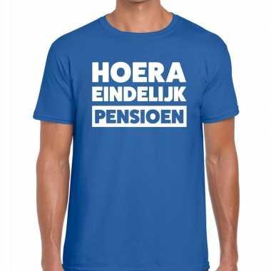 Hoera eindelijk pensioen t shirt blauw heren