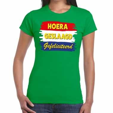 Hoera geslaagd gefeliciteerd t shirt groene dames