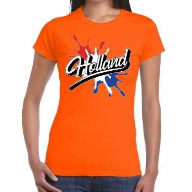 Holland t shirt spetter oranje dames